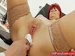 gyno, wife, grandma, doctor, milf, exam, mature, redhair, closeup, old
