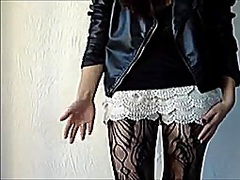 Voyeur Hit Movie:LACE SHORTS AND LEATHER JACKET