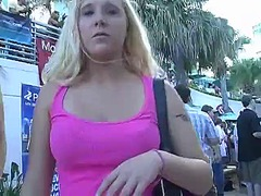 Blond girl wetting her... video