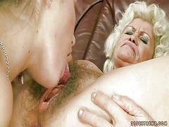 Young girl fucks naughty fat granny