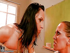 Brunette !new with huge tits having unbelievable lesbian sex with mandy bright
