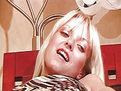 Thumb: Horny blonde in a prin...