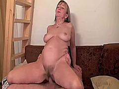 Mature women facialized by young stud...