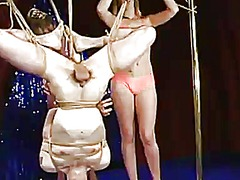 Perverted pole dancers give freaky constrained and pegging to a man