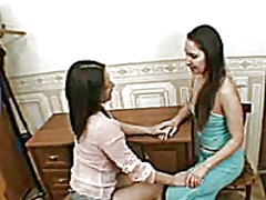 Xhamster Movie:Hairy lesbian twins licking an...