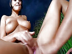 Adria with huge knockers and smooth pussy gets the pleasure from rubbing romeas love tunnel