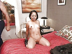 Ponytailed dude whips roped latina's ...