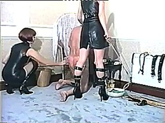 Humiliation and strict whipping for male slave