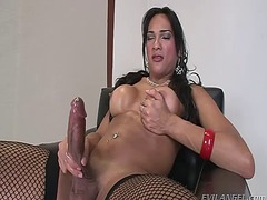 tranny, erect, dick, cock, transvestite, tgirl, masturbation, transsexual, video, stroke, latina, jerking