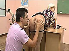 Sexy blond teacher gan... video