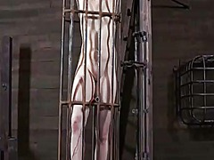 Tied up slave receives pleasuring her wicked twat