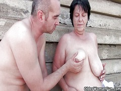 Thumb: Mom gets her cum outdoors