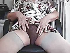 Hairy granny in stockings strips and ...