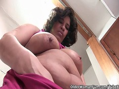 Tube8 - Lactating granny drinks her own milk and masturbates
