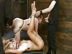 Blonde and ginger whores have punished by their master