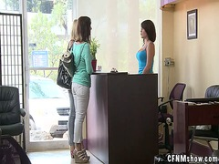 Sexy nymph touches the sausage at beauty salon inside public