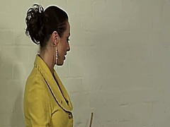 Caning in rubber panties video