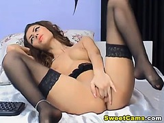 shaved, clit, stockings, pussy,