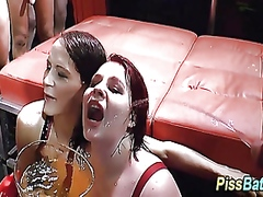 Pee whores gets piss poured during fuck