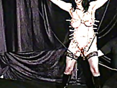 Pegged mature slaveslut torture to te...