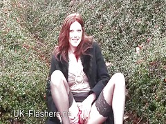 orgasm, shaved, fingering, clit, rubbing, outdoors, pussy, masturbation, wet, stockings,