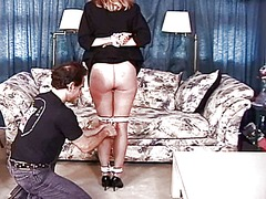 Mature big tits whore getting ready for a bdsm session