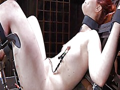 Thumb: Restrained gal is hois...