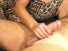 Leopard suit cook jerking for hubby