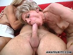 Amateur threesome with 2 nasty mature...