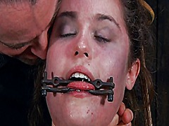 Ah-Me Movie:Gagged beauty with clamped nip...
