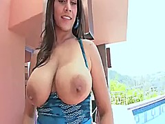 Latina cougar shows off her bubble butt