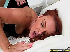 mature, blowjob, big boobs, redhead