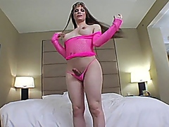 Tranny cums on her face. video