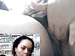 Lady at work fingers her pussy, shows tits...