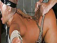 Asian bimbo slut creampied during bondage spitroasting