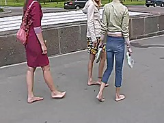 3 girls walking barefo... video