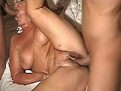 Dirty italian granny banged by two yo...