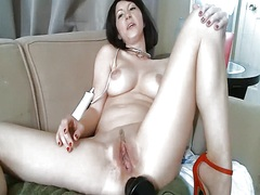 Babe has a sex toy in ...