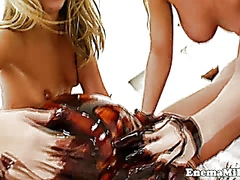 Milk enema lezzies squirting milk and they gunging