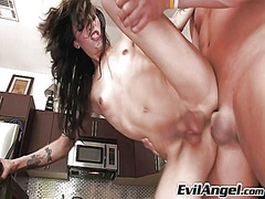 Skinny shemale ass fucked in the kitchen