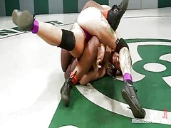 Coffee brown and rain degrey have lesbie funtime during the tussle onto tatami