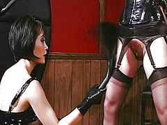 Xhamster Movie:Lesbian babe in leather spanks...