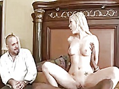 Husband admires his wife as she goes black