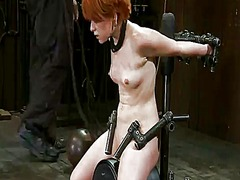 Short-haired red head juliette march taken to cumming by sybian inside masochism vid
