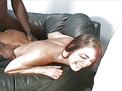 A nasty white milf opens her legs to take a huge piece of black meat