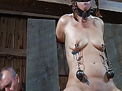 Thumb: Bounded serf girl is g...