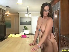 3 sleaze lezzy love exploring each other's vags in the kitchen