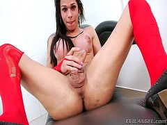 jerking, solo, dick, transvestite, video, masturbation, stockings, stroke, fishnet, tgirl, cock, transsexual, tranny, erect